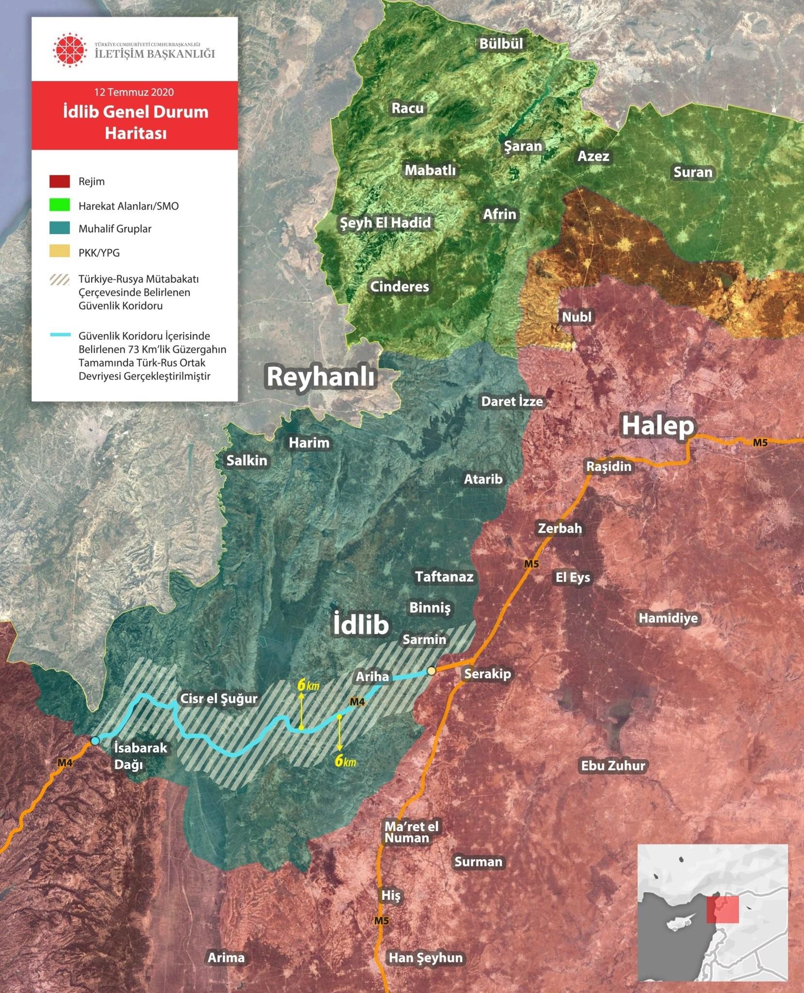 الرئاسة التركية : بالخرائط.. توزع السيطرة في سوريا ومسير الدوريات المشتركة بإدلب