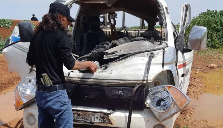 مقتل شخصين في استهداف طائرة مسيرة لسيارتهما بريف حلب
