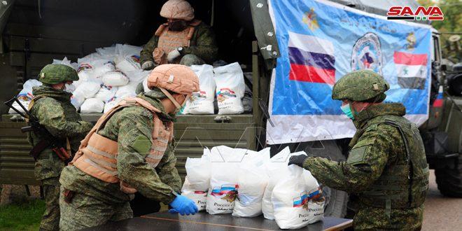 روسيا توزع مساعدات غذائية في بلدة الهجانة بريف دمشق