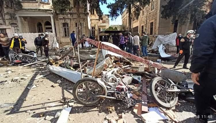 قتلى وجرحى بإنفجار محل أسلحة وسط مدينة إدلب...فيديو