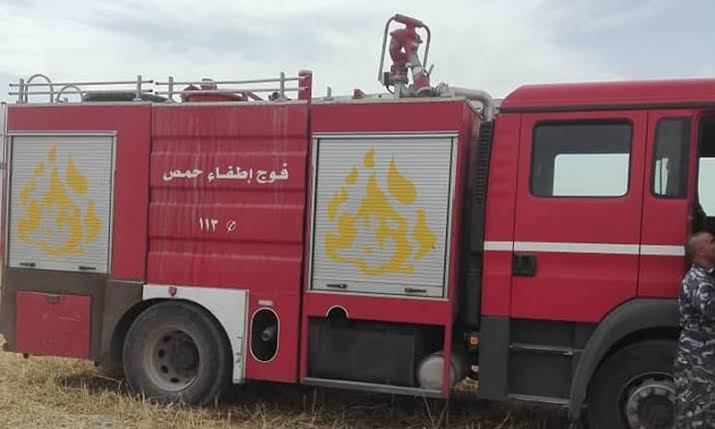 seven people were injured in a fire in the shelter center in Homs countryside