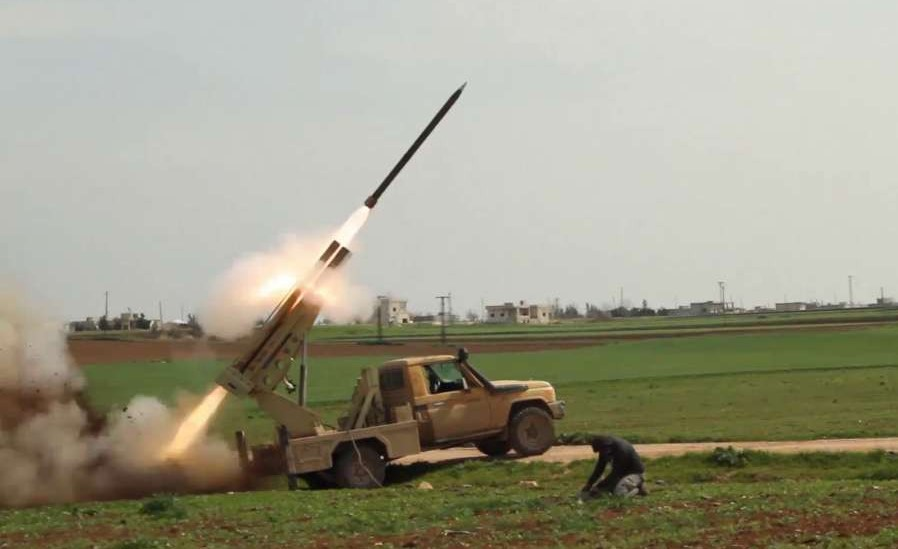 A Grad rockets attack targets an Iranian militia camp in the countryside of Raqqa