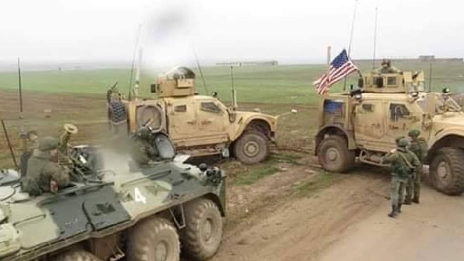 A fight between American soldiers and Russians in Al-Hasaka countryside, and the residents are encouraging