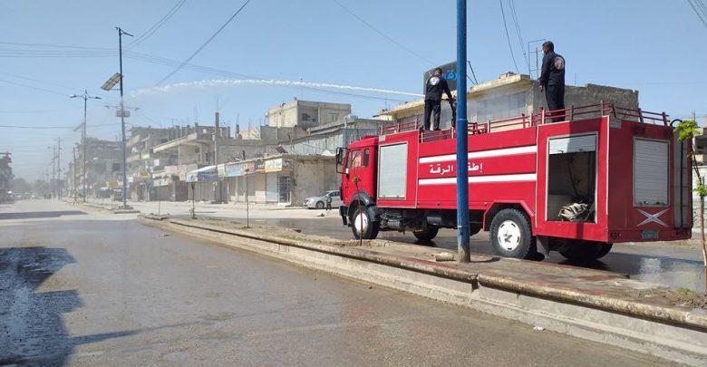 ضحايا مدنيين بحريق في المرآب العام بالرقة