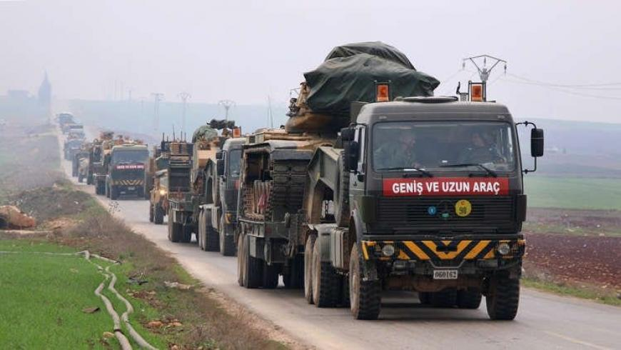 Turkey pushes a huge military convoy to Idlib