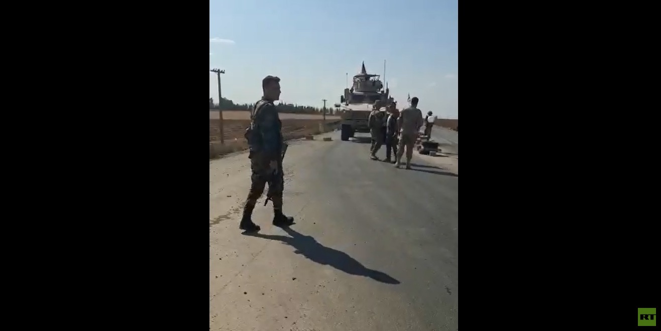 مصادر روسية : قوات النظام تمنع  رتلا أمريكيا من العبور إلى مدينة القامشلي