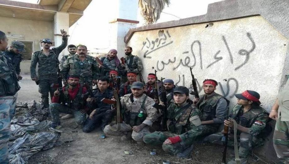 A regiment commander in Liwa al-Quds militia was killed in an ISIS attack in the desert
